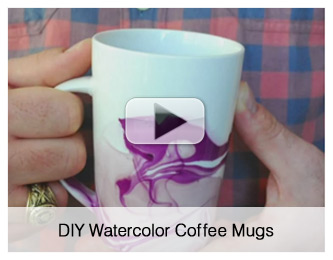 DIY Watercolour Coffee Mugs